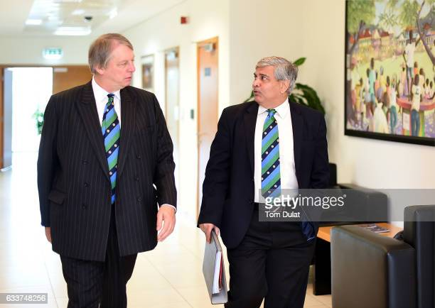 Giles Clarke of England and Shashank Manohar ICC Chairman on their way to attend the ICC Board Meeting on February 4 2017 in Dubai United Arab...