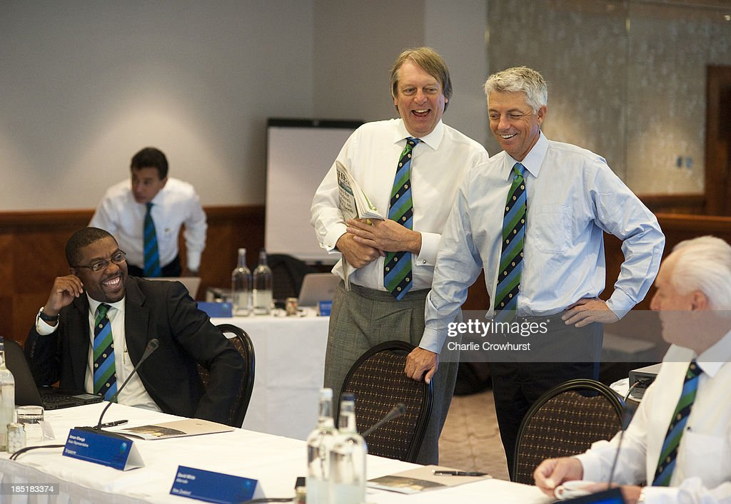 Giles Clarke shares a joke with Cheif Executive David Richarson and Dave Cameron of the West Indies during the ICC Board Meeting at The Royal Garden Hotel on October 18, 2013 in London, England.