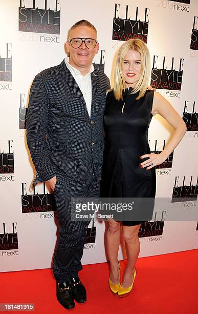 Giles Deacon and Alice Eve pose in the press room at the Elle Style Awards at The Savoy Hotel on February 11 2013 in London England