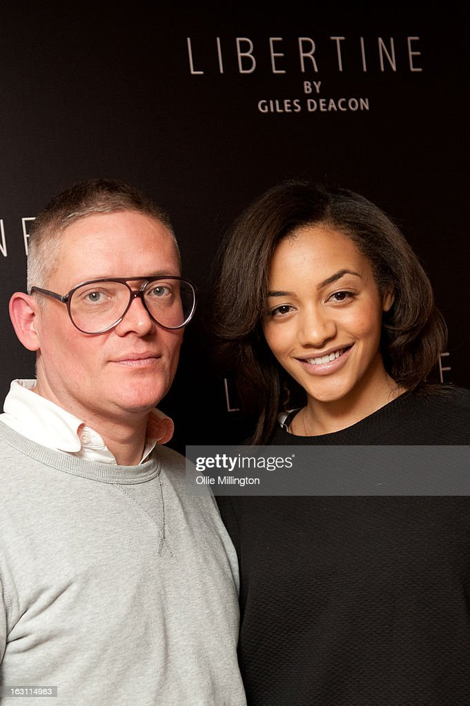 <a gi-track='captionPersonalityLinkClicked' href=/galleries/search?phrase=Giles+Deacon+-+Fashion+Designer&family=editorial&specificpeople=4321770 ng-click='$event.stopPropagation()'>Giles Deacon</a> and Amal Fashanu attend as <a gi-track='captionPersonalityLinkClicked' href=/galleries/search?phrase=Giles+Deacon+-+Fashion+Designer&family=editorial&specificpeople=4321770 ng-click='$event.stopPropagation()'>Giles Deacon</a> launches his Libertine collection for QVC at The Club at The Ivy on March 4, 2013 in London, England.