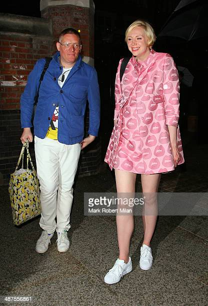 Giles Deacon and Gwendoline Christie at the Chiltern Firehouse for a Prada event on April 30 2014 in London England