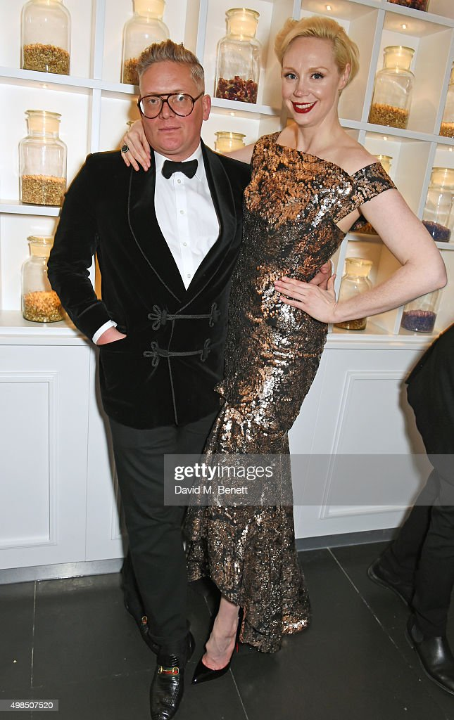 Giles Deacon (L) and Gwendoline Christie attend the British Fashion Awards official afterparty hosted by St Martins Lane and sponsored by Ciroc Vodka at St Martins Lane on November 23, 2015 in London, England.