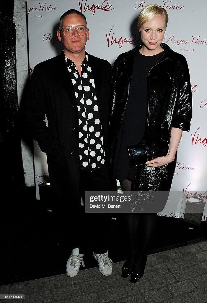 <a gi-track='captionPersonalityLinkClicked' href=/galleries/search?phrase=Giles+Deacon+-+Fashion+Designer&family=editorial&specificpeople=4321770 ng-click='$event.stopPropagation()'>Giles Deacon</a> (L) and <a gi-track='captionPersonalityLinkClicked' href=/galleries/search?phrase=Gwendoline+Christie&family=editorial&specificpeople=6341361 ng-click='$event.stopPropagation()'>Gwendoline Christie</a> attend the Roger Vivier Virgule London launch party hosted by Atlanta de Cadenet, Ines de la Fressange and Bruno Frisoni, Creative Director of Roger Vivier, at Le Baron on October 15, 2013 in London, England.