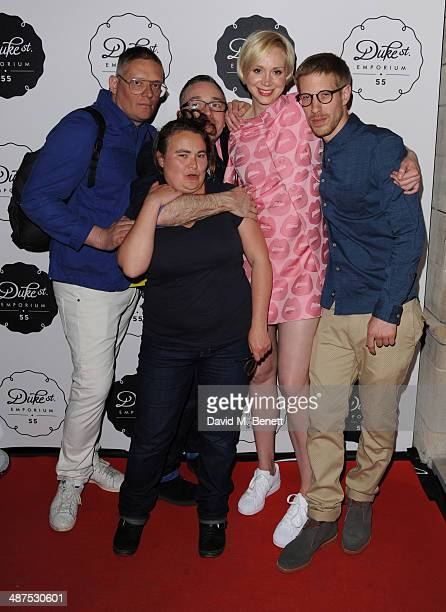 Giles Deacon Gwendoline Christie and Guests attend the new concept store 'The Duke Street Emporium' launched by The Jigsaw Group on April 30 2014 in...