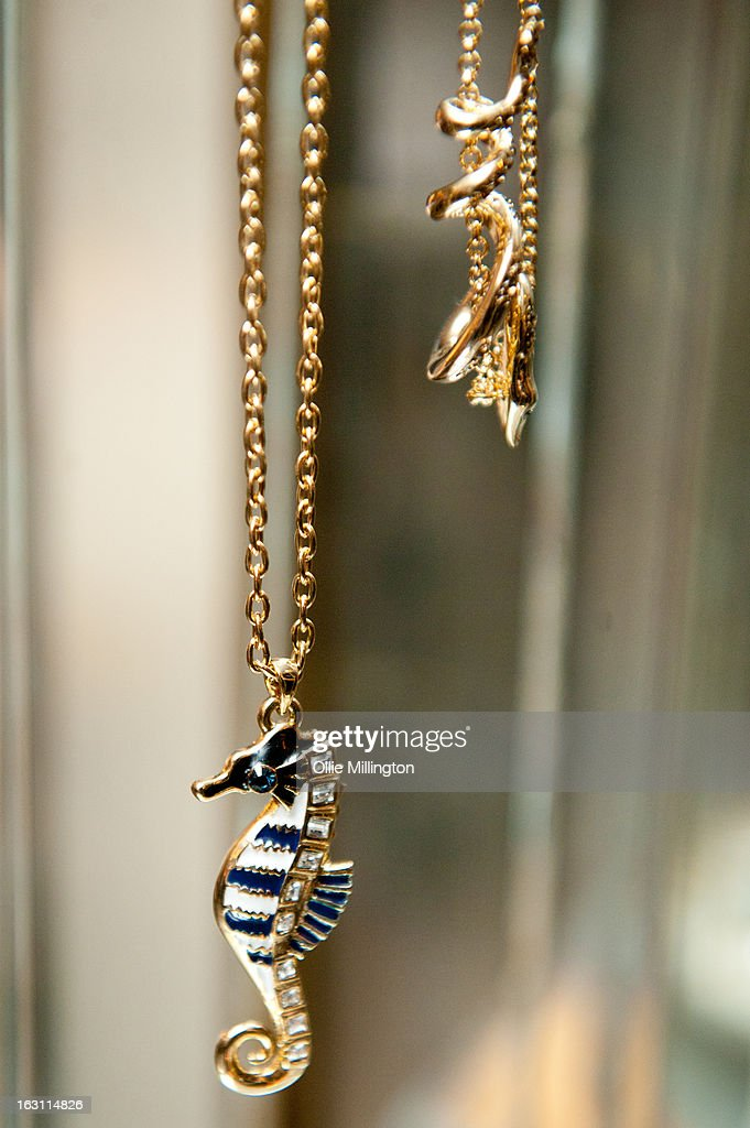 Giles Deacon jewelry on display at the launch of his Libertine collection for QVC at The Club at The Ivy on March 4, 2013 in London, England.