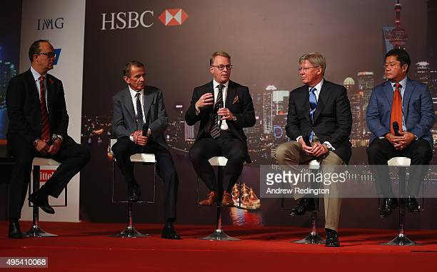 Giles Morgan Tim Finchem Keith Pelley Martin Slumbers and Kyi Hla Han are pictured on stage during the HSBC Golf Sponsorship Renewal Announcement at...