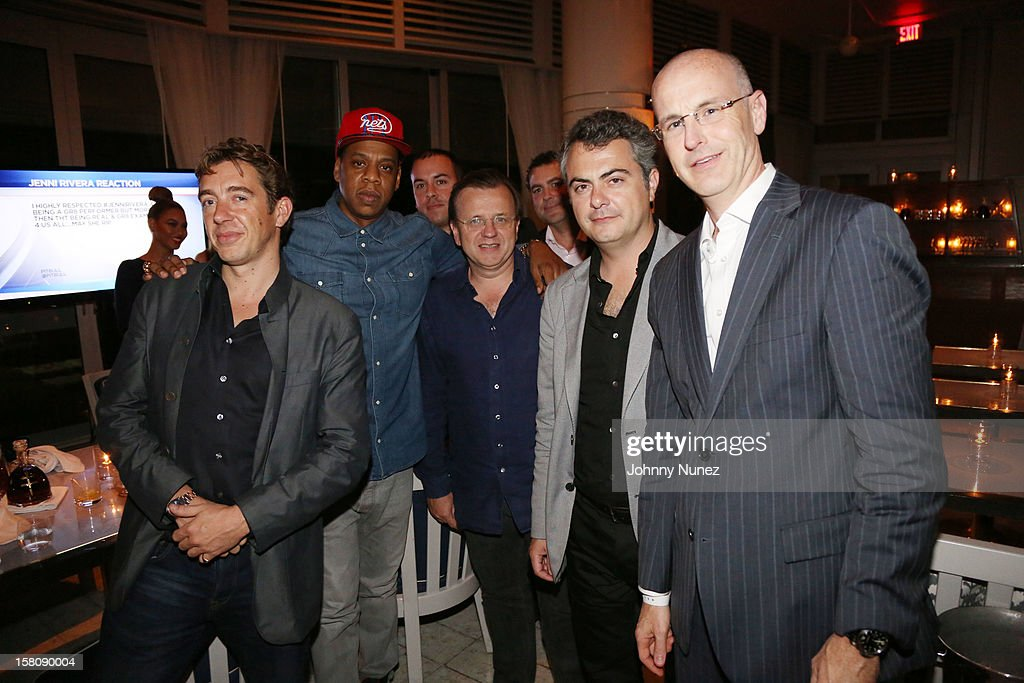 Giles Woodyer, Jay Z, Robert Furniss-Roe, Juan Rovira and Derrick Hopkins attend private dinner hosted by Jay Z at Scarpetta, Fontainbleau Hotel on December 9, 2012 in Miami Beach, Florida.
