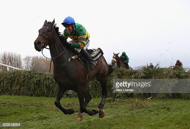 Gilgamboa ridden by Robbie Power clears the last fence during the Crabbie's Grand National Steeple Chase at Aintree Racecourse on April 9 2016 in...