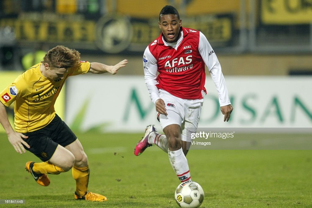Giliano Wijnaldum of AZ (R) during the Dutch Eredivisie match between Roda JC Kerkrade and AZ Alkmaar at the Parkstad Limburg Stadium on february 16, 2013 in Kerkrade, The Netherlands