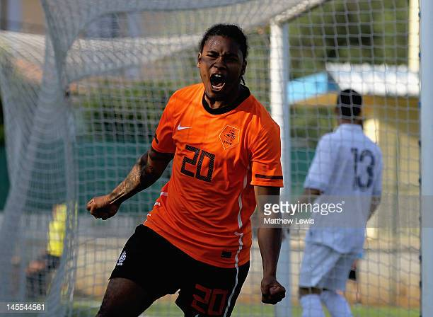 Giliano Wijnaldum of the Netherlands celebrates his goal during the Toulon Tournament 3rd/4th Place Play off match between France and the Netherlands...