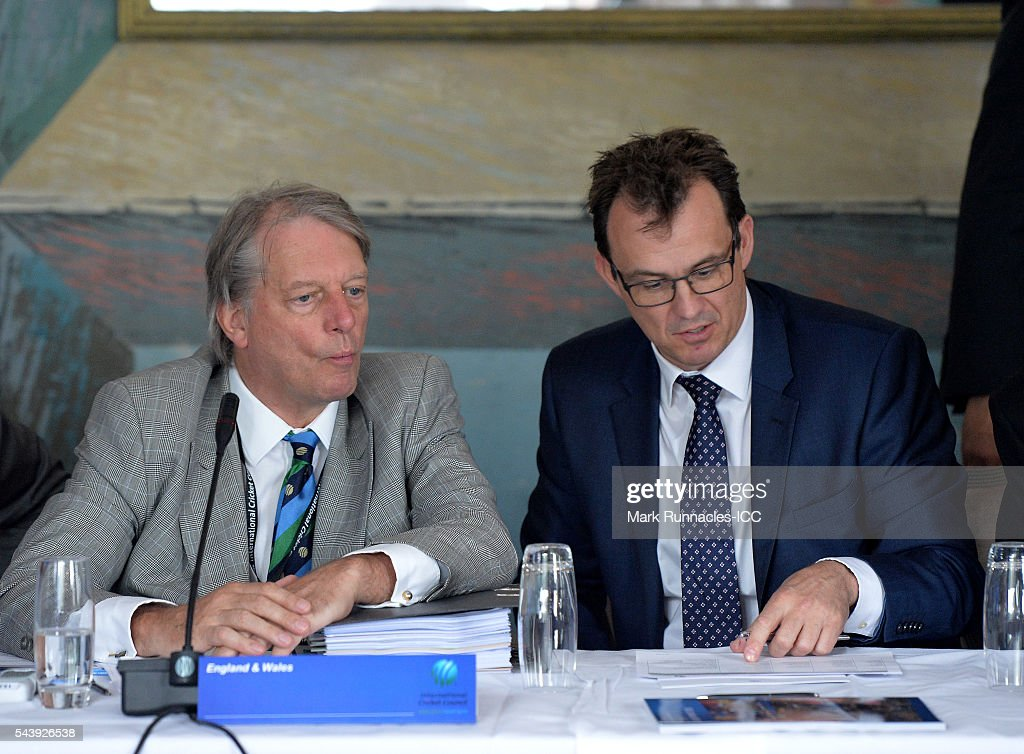 Gilies Clarke (L), and Tom Harrison of England during the ICC Full Council meeting at The Waldorf Astoria, The Caledonian on June 30, 2016 in Edinburgh, Scotland.