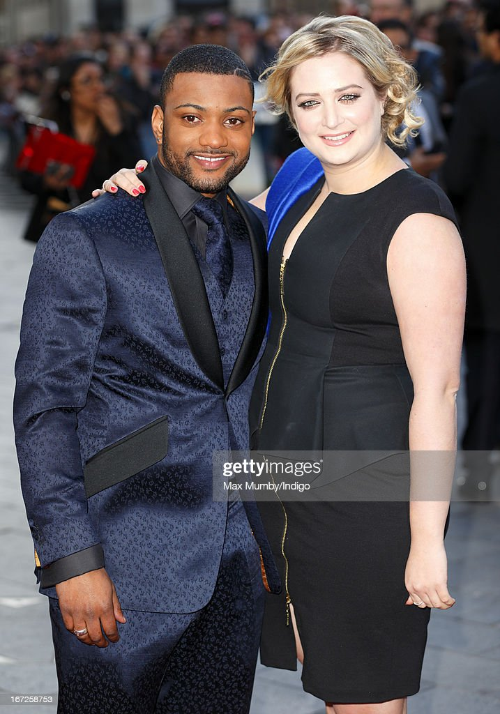 JB Gill and Chloe Tangney attend a special screening of 'Iron Man 3' at Odeon Leicester Square on April 18, 2013 in London, England.