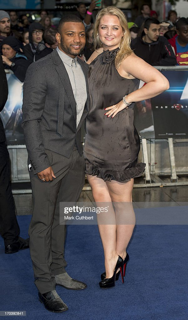 JB Gill and Chloe Tangney attend the UK Premiere of 'Man of Steel' at Odeon Leicester Square on June 12, 2013 in London, England.