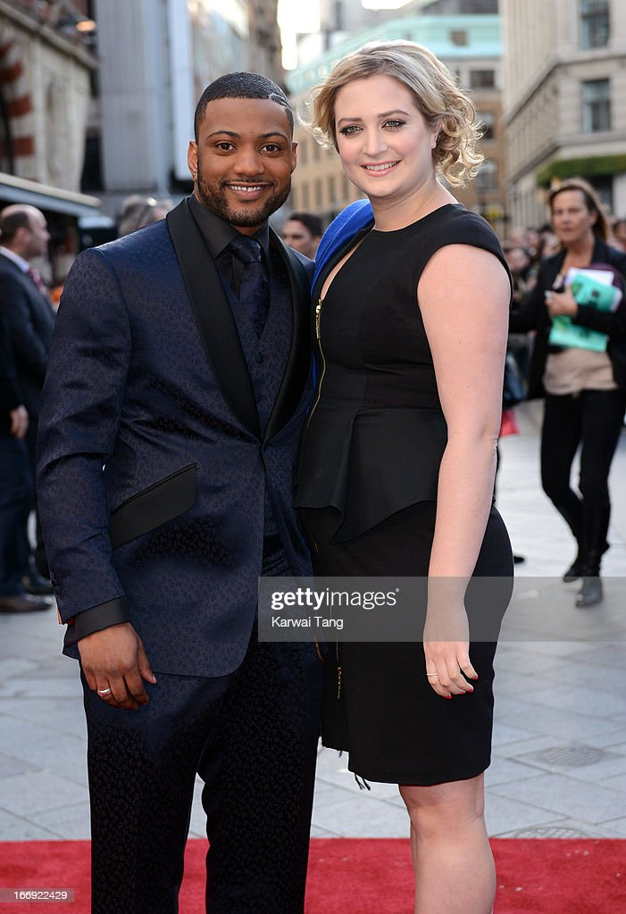 JB Gill and Chloe Tangney attends a special screening of 'Iron Man 3' at Odeon Leicester Square on April 18, 2013 in London, England.