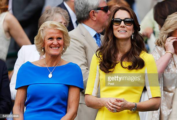 Gill Brook and Catherine Duchess of Cambridge watch on from The Royal Box during the Ladies Singles Semi Final match between Venus Williams of The...