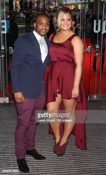 JB Gill from JLS and girlfriend Chloe Tangney at the premiere of the new Batman film The Dark Knight Rises at the Odeon Leicester Square London