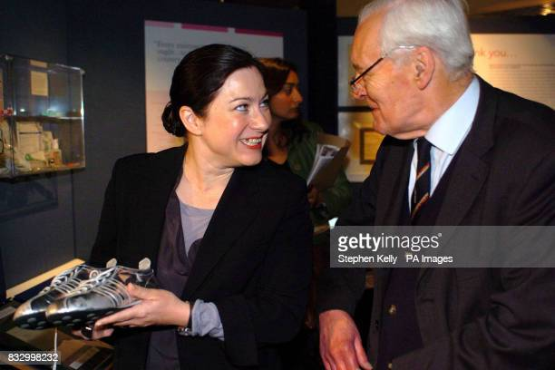 Gill Hicks a survivor of the 7/7 London Bombings and Tony Benn at the opening of an exhibition at Florence Nightingale Museum Gill is holding the...