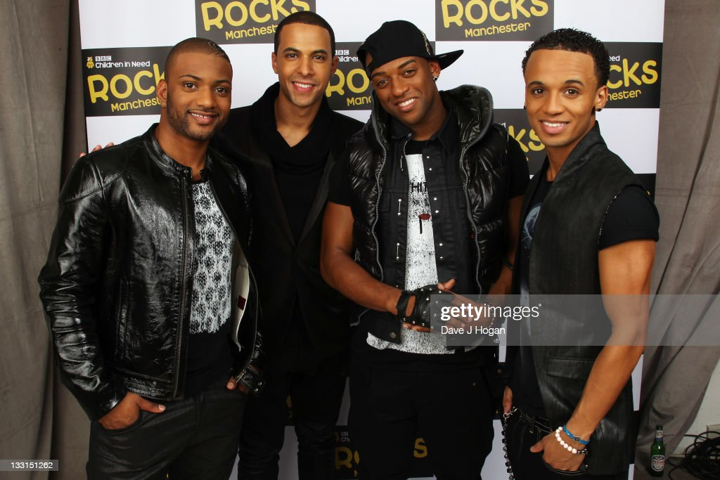 Gill, <a gi-track='captionPersonalityLinkClicked' href=/galleries/search?phrase=Marvin+Humes&family=editorial&specificpeople=2887070 ng-click='$event.stopPropagation()'>Marvin Humes</a>, <a gi-track='captionPersonalityLinkClicked' href=/galleries/search?phrase=Oritse+Williams&family=editorial&specificpeople=5739700 ng-click='$event.stopPropagation()'>Oritse Williams</a> and <a gi-track='captionPersonalityLinkClicked' href=/galleries/search?phrase=Aston+Merrygold&family=editorial&specificpeople=5739699 ng-click='$event.stopPropagation()'>Aston Merrygold</a> of JLS pose backstage at Children In Need Rocks Manchester 2011 at The Manchester Evening News Arena on November 17, 2011 in Manchester, United Kingdom.