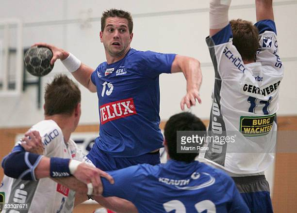 Gillaume Gille of Hamburg thows at goal during the friendly match between HSV Handball and TBV Lemgo on July 30 2005 in Schneverdingen Germany