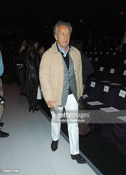 Gilles Bensimon during Olympus Fashion Week Fall 2004 Narciso Rodriguez Front Row and Backstage at The Tent at Bryant Park in New York City New York...
