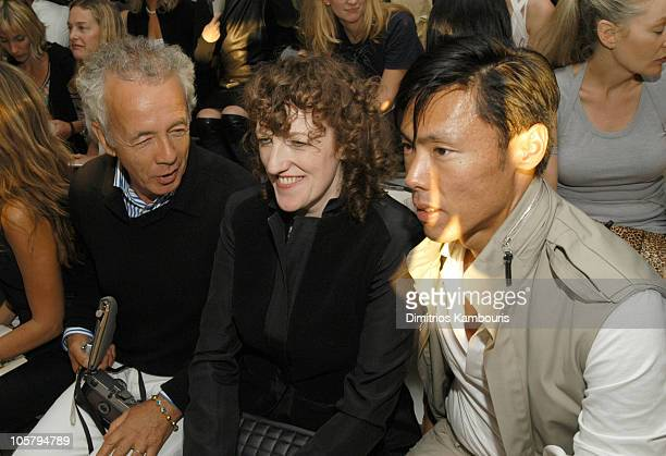 Gilles Bensimon Glenda Bailey and Stephen Gan during MercedesBenz Fashion Week Spring 2004 Calvin Klein Front Row at 450 W 15th Street in New York...