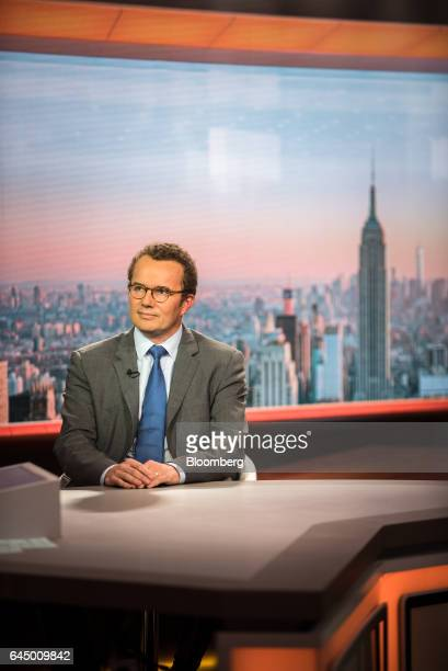 Gilles Bogaert chief financial officer of Pernod Ricard listens during a Bloomberg Television interview in New York US on Friday Feb 24 2017 Bogaert...