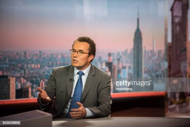 Gilles Bogaert chief financial officer of Pernod Ricard speaks during a Bloomberg Television interview in New York US on Friday Feb 24 2017 Bogaert...