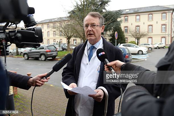 Gilles Brassier president of the medical committee of the Rennes university hospital gives a press briefing on January 18 2016 in Rennes western...