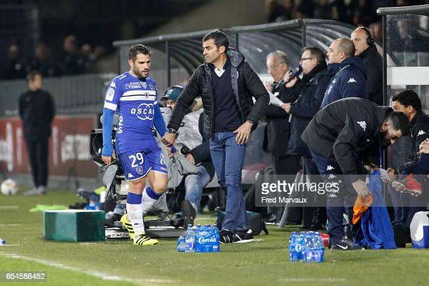 Gilles Cioni of Bastia and Rui Almeida coach of Bastia during the Ligue 1 match between Fc Metz and SC Bastia at Stade SaintSymphorien on March 17...