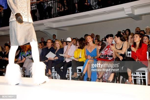 Gilles Dufour Catherine Deneuve Loic Prigent Aloise Sauvage Fauve Hautot Rossy de Palma Blanca Li and Hiba Abou attend the Jean Paul Gaultier Haute...