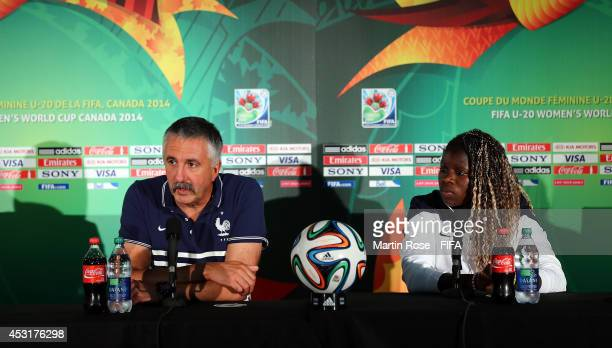 Gilles Eyquem head coach of France and Bathy Mbock talk to the media during the France U20 Women's national team press conference at Olympic stadium...