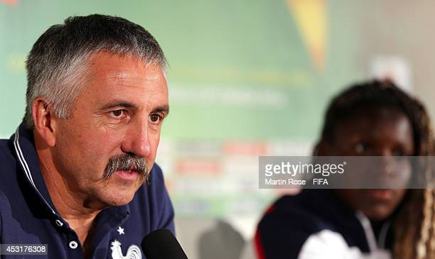 Gilles Eyquem head coach of France talks to the media during the France U20 Women's national team press conference at Olympic stadium on August 4...