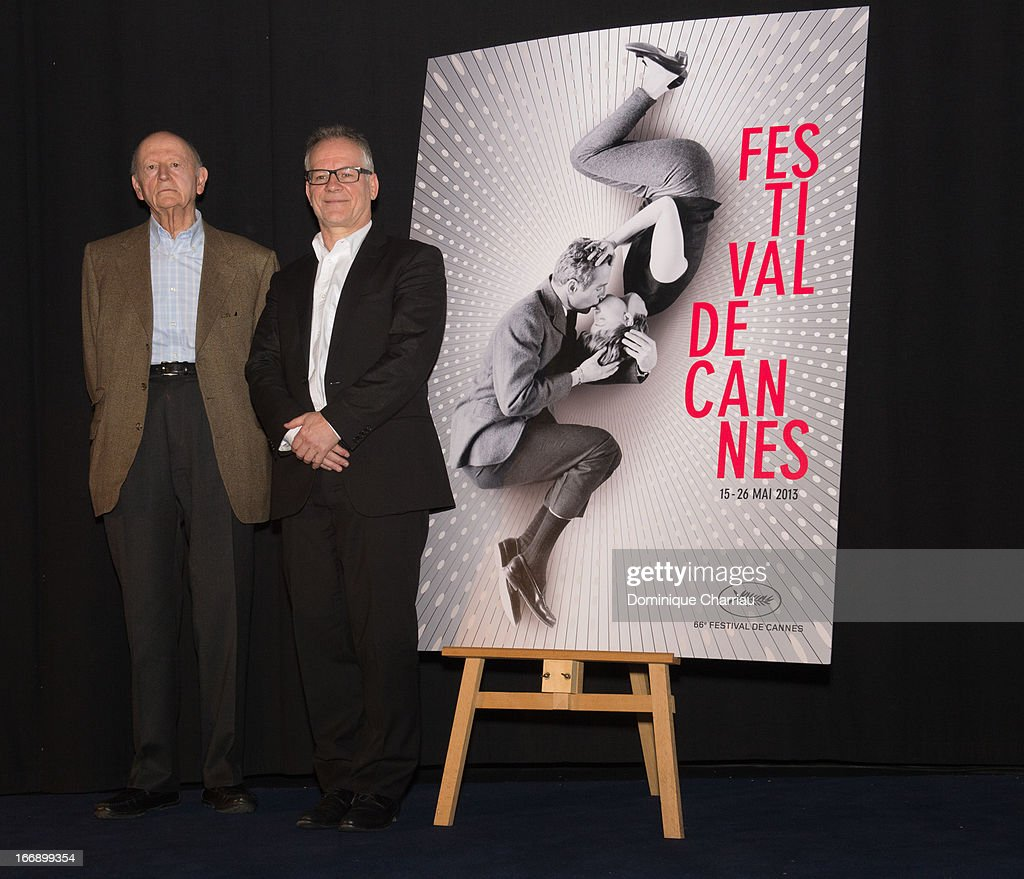 Gilles Jacob and Thierry Fremaux attends the 66th Cannes Film Festival Official Selection Presentation - Press Conference at Cinema UGC Normandie on April 18, 2013 in Paris, France.