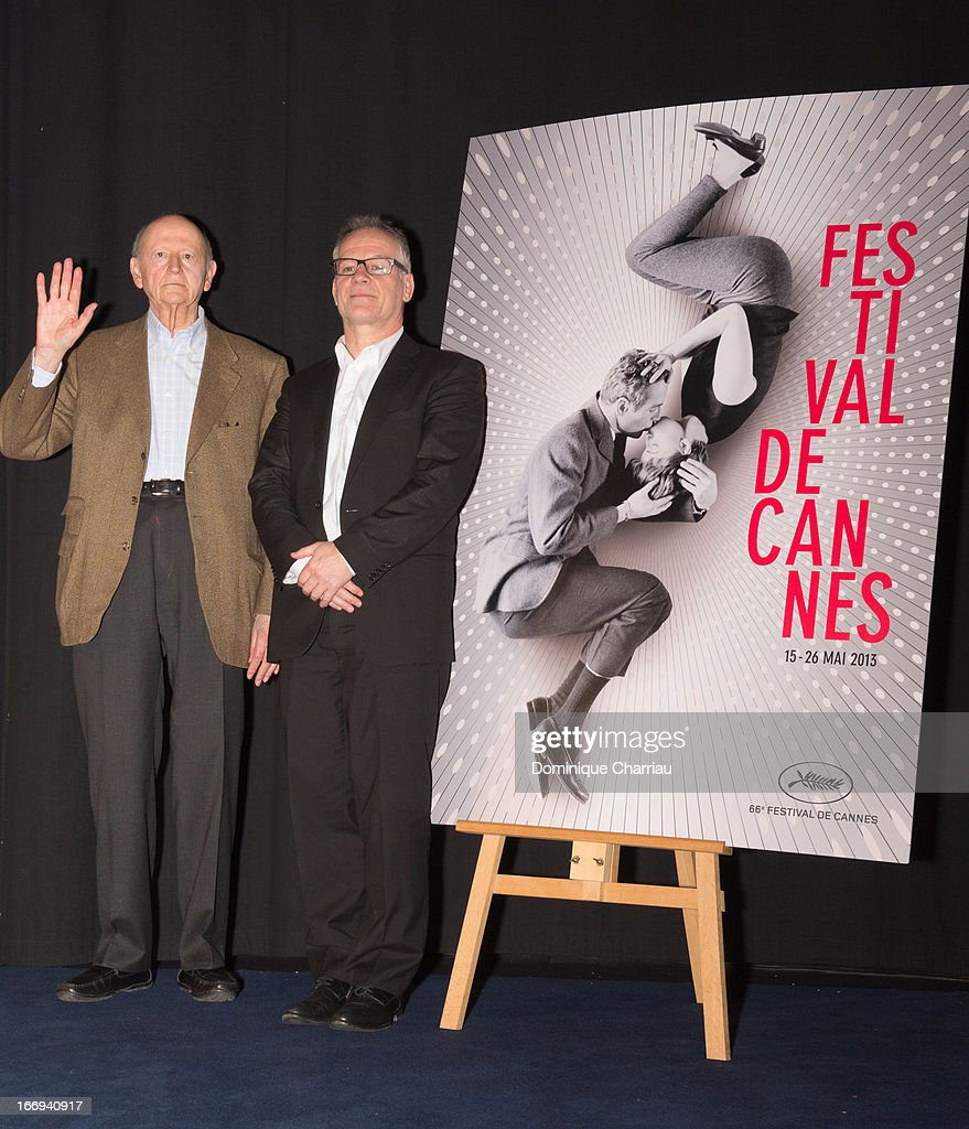 Gilles Jacob and Thierry Frémaux attends the 66th Cannes Film Festival Official Selection Presentation - Press Conference at Cinema UGC Normandie on April 18, 2013 in Paris, France.