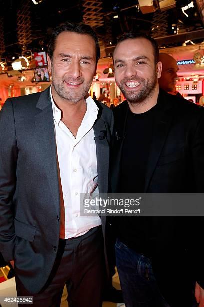 Gilles Lellouche and Humorist Comte de Bouderbala attend the 'Vivement Dimanche' French TV Show at Pavillon Gabriel on January 28 2015 in Paris France