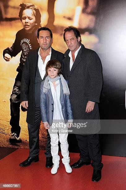 Gilles Lellouche Max Baissette de Malglaive and Vincent Lindon attend the 'Mea Culpa' Paris Premiere at Cinema Gaumont Opera Capucine on February 2...