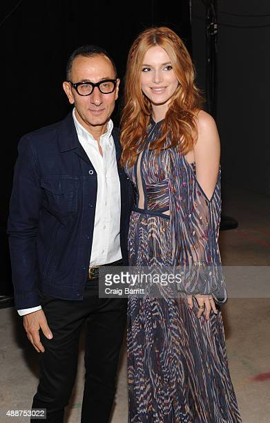 Gilles Mendel and Bella Thorne backstage at the J Mendel fashion show during Spring 2016 New York Fashion Week on September 17 2015 in New York City