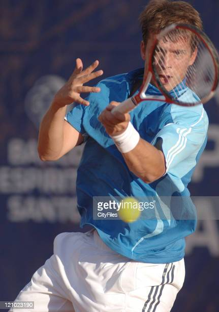 Gilles Muller in action during his match against Nicolas Lapentti during the second round of the Estoril Open at Estadio Nacional in Estoril Portugal...