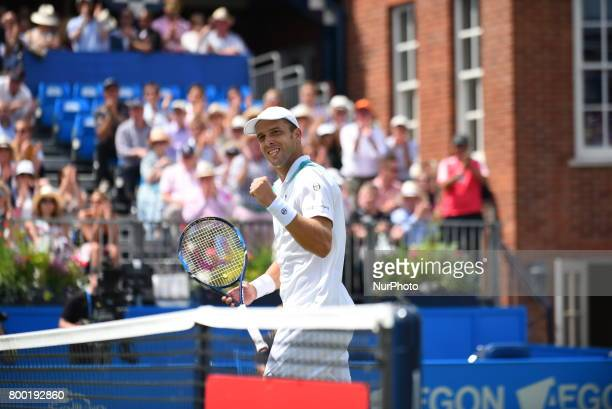 Gilles Muller of Luxembourg celebrates after winning the AEGON Championships 2017 quarter final at the Queen's Club London on June 23 2017
