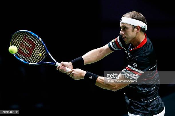 Gilles Muller of Luxembourg in action against Andreas Seppi of Italy during day 2 of the ABN AMRO World Tennis Tournament held at Ahoy Rotterdam on...