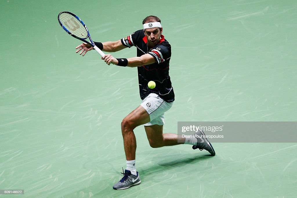 Gilles Muller of Luxembourg in action against Andreas Seppi of Italy during day 2 of the ABN AMRO World Tennis Tournament held at Ahoy Rotterdam on February 9, 2016 in Rotterdam, Netherlands.