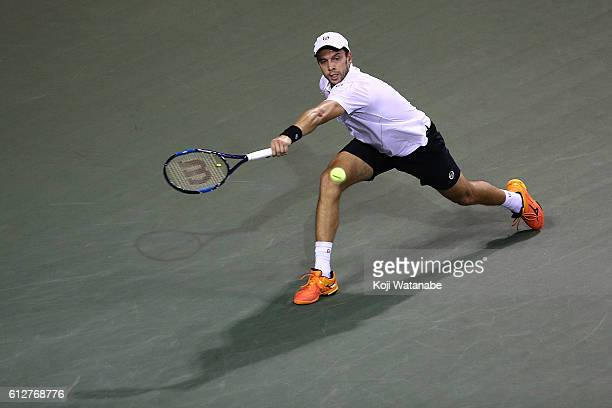 Gilles Muller of Luxembourg in action during the men's singles first round match against Tomas Berdych of Czech Republic on day three of Rakuten Open...