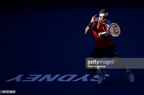 Gilles Muller of Luxembourg plays a forehand shot in his semi final match against Viktor Troicki of Serbia during day six of the 2015 Sydney...
