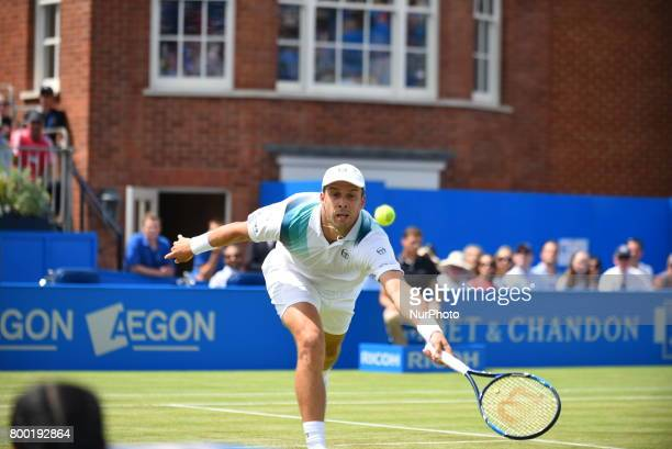 Gilles Muller of Luxembourg plays the AEGON Championships 2017 quarter final at the Queen's Club London on June 23 2017
