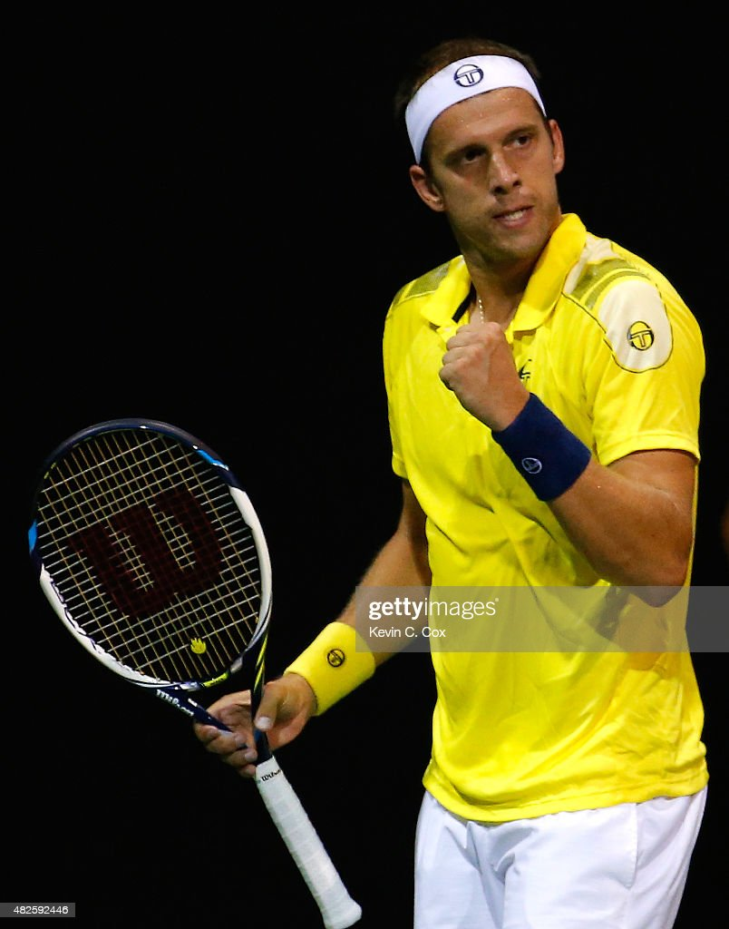 <a gi-track='captionPersonalityLinkClicked' href=/galleries/search?phrase=Gilles+Muller&family=editorial&specificpeople=224381 ng-click='$event.stopPropagation()'>Gilles Muller</a> of Luxembourg reacts after winning a game against Go Soeda of Japan during the BB&T Atlanta Open at Atlantic Station on July 31, 2015 in Atlanta, Georgia.