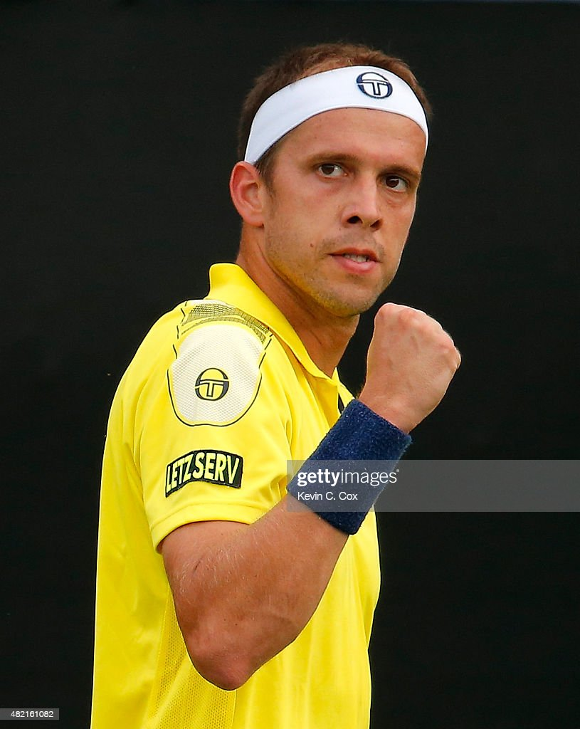 <a gi-track='captionPersonalityLinkClicked' href=/galleries/search?phrase=Gilles+Muller&family=editorial&specificpeople=224381 ng-click='$event.stopPropagation()'>Gilles Muller</a> of Luxembourg reacts after winning a point against Donald Young during the BB&T Atlanta Open at Atlantic Station on July 27, 2015 in Atlanta, Georgia.