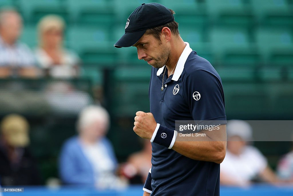 <a gi-track='captionPersonalityLinkClicked' href=/galleries/search?phrase=Gilles+Muller&family=editorial&specificpeople=224381 ng-click='$event.stopPropagation()'>Gilles Muller</a> of Luxembourg reacts after winning his men's singles match against Jiri Vesely of the Czech Republic during day two of the ATP Aegon Open Nottingham at Nottingham Tennis Centre on June 21, 2016 in Nottingham, England.