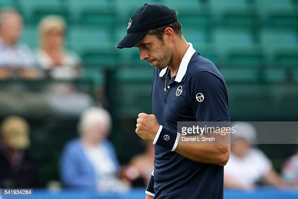 Gilles Muller of Luxembourg reacts after winning his men's singles match against Jiri Vesely of the Czech Republic during day two of the ATP Aegon...