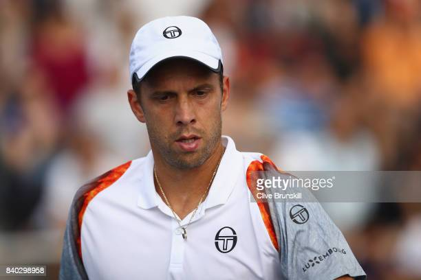 Gilles Muller of Luxembourg reacts during his first round Men's Singles match against Bernard Tomic of Australia on Day One of the 2017 US Open at...