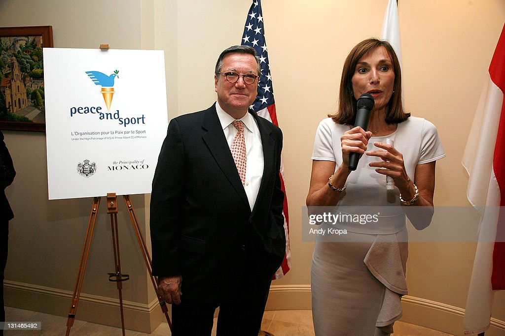 Gilles Noghes and Maguy Maccario attend a hosted VIP reception by Consul General of Monaco in New York, Maguy Maccario, for Champions of Peace and special guests from the Monaco-based Peace & Sports attending their first ING New York City Marathon on November 4, 2011 in New York City.